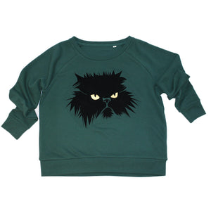 Studio Catta Grumpy Cat on green sweater