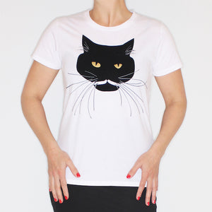 Studio Catta Panda the cat shirt white