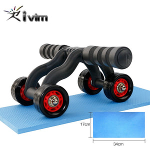4 Wheels Power Wheel Triple AB Abdominal Roller Abs Workout Fitness Machine Gym Knee Pad