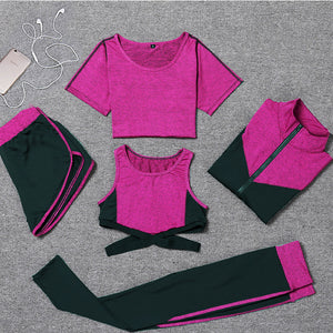 New Women Yoga Clothes 5 Piece Girl Yoga Sets 3 Piece Workout Sets Fitness Clothing Running Tracksuit Plus Size Jogging Tights