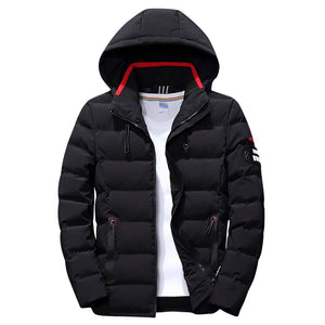 New Fashion Men Winter Jacket Coat Solid Hooded Warm Mens Winter Coat Casual Slim Fit Student Male Overcoat