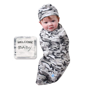 DANMY Newborn Swaddle Blanket with Matching Knot Hat,Baby Sleep Sack,Swaddle Cocoon Sack Baby Boy Girl Black White