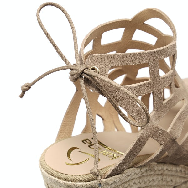 Kanna Jute Suede Cut-Out Wedges - Beige