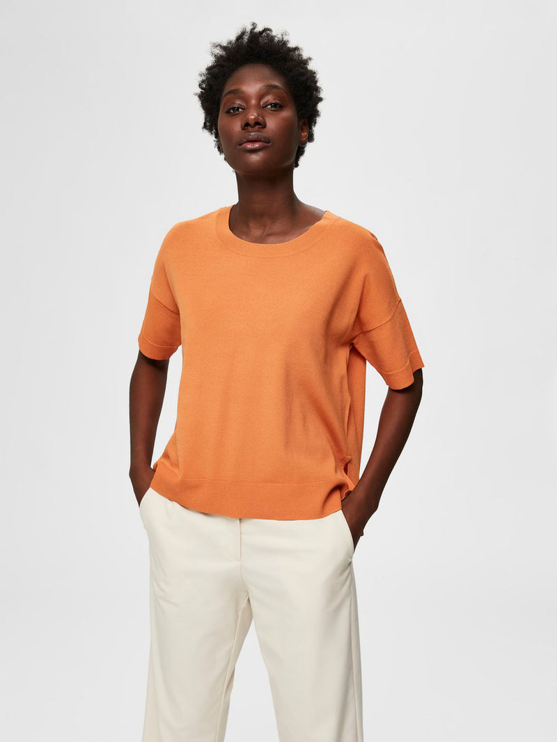 Selected Femme Wille Knitted Tee - Caramel