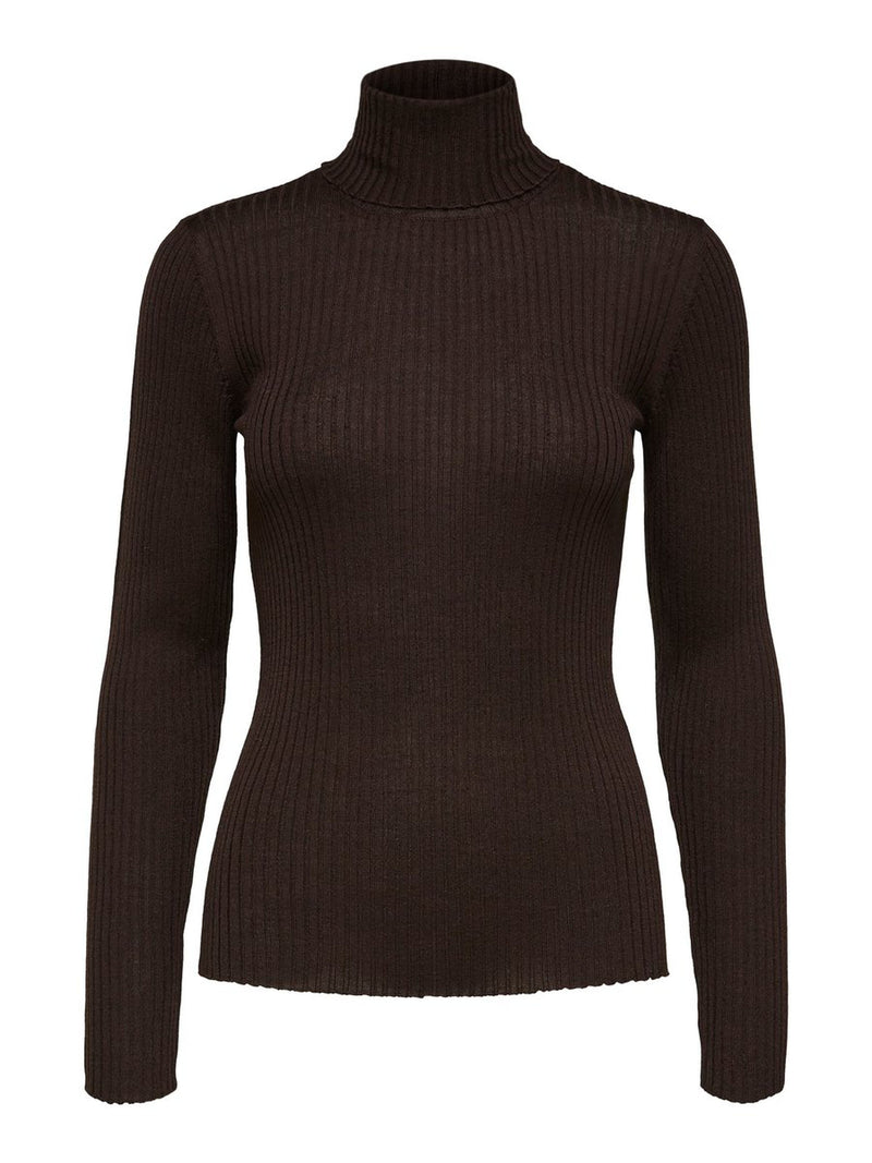 Selected Femme Ribbed Roll Neck Jumper - Brown