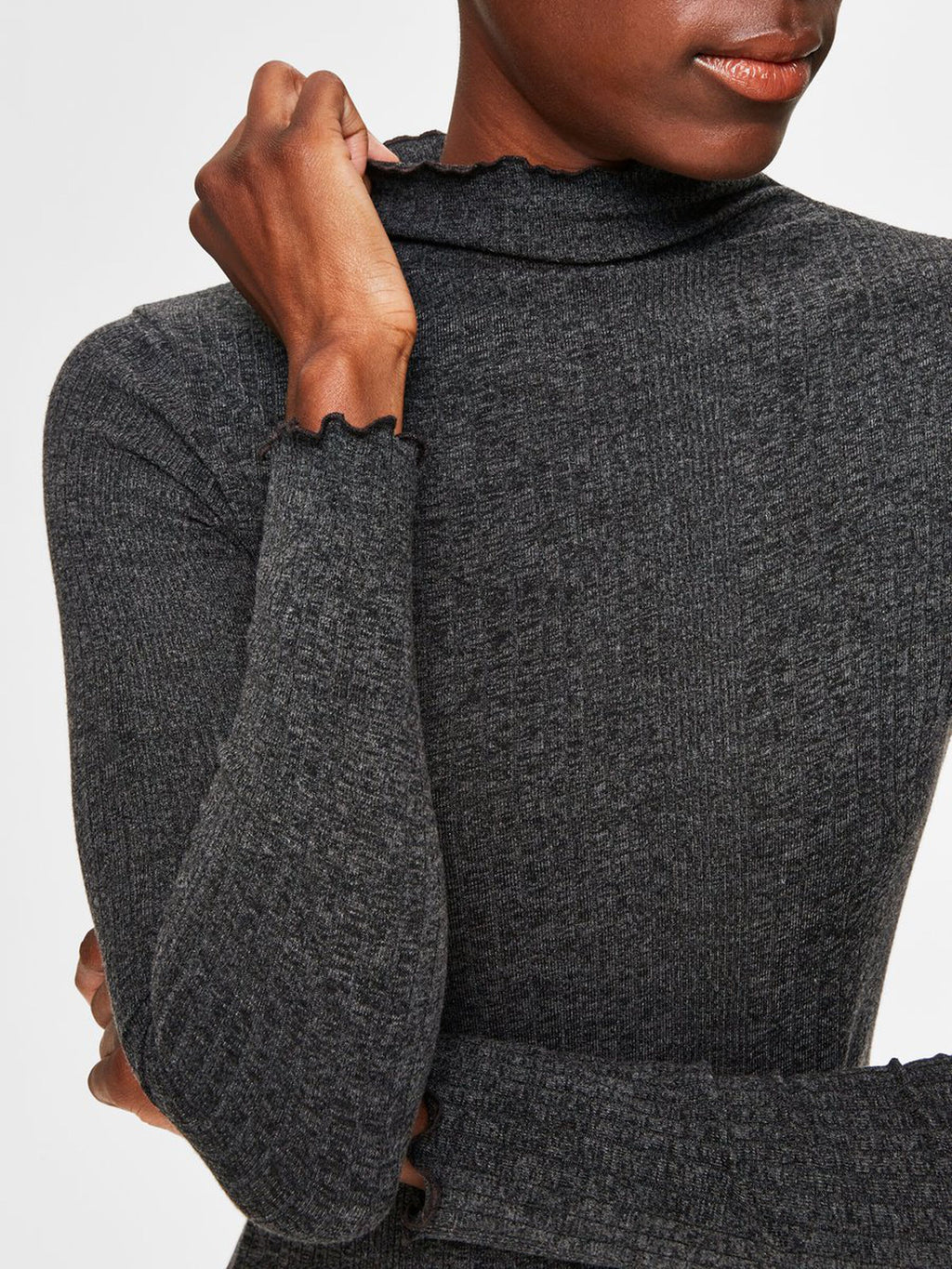 Selected Femme Frill Neck Fitted Jumper - Grey