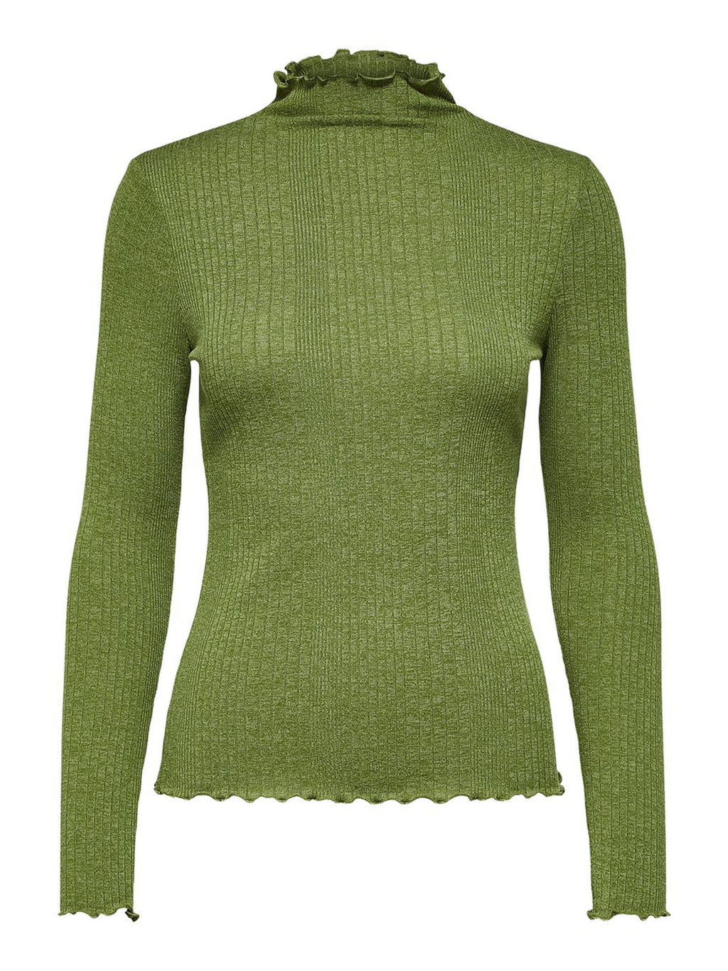 Selected Femme Frill Neck Fitted Jumper - Green