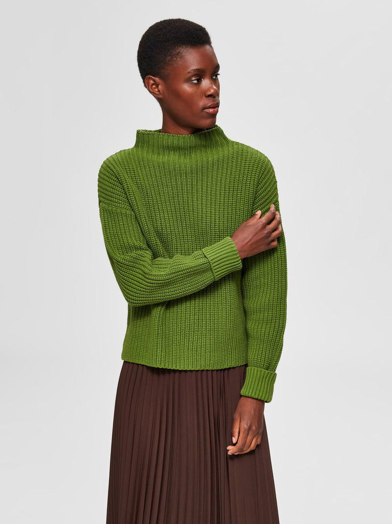 Selected Femme Roll Neck Cotton Mix Jumper - Lime
