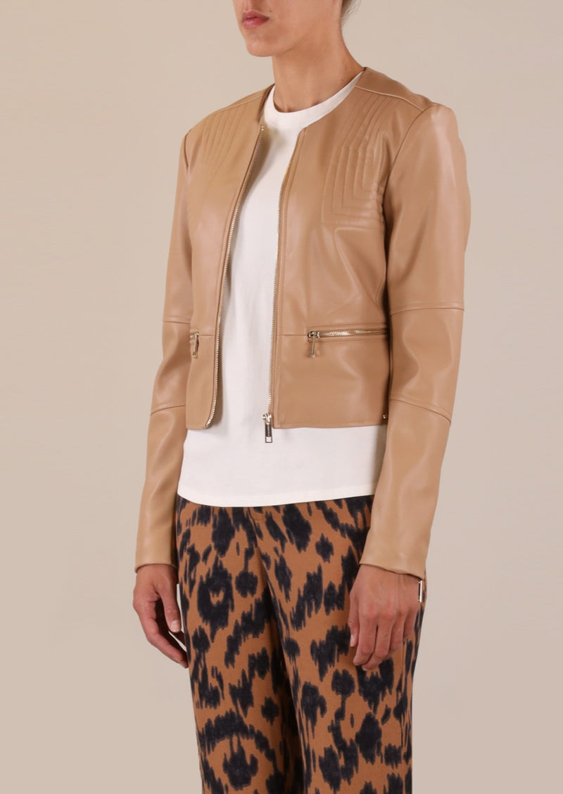 Rino & Pelle Quin Faux Leather Jacket - Tan