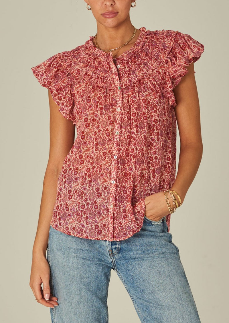 Mabe Ellie Short Sleeve Frill Top - Multi Print