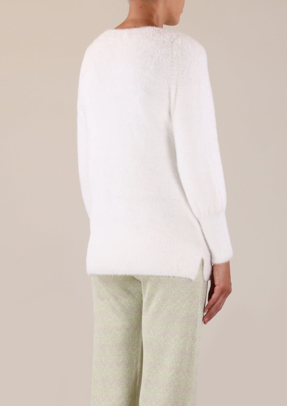 Rino & Pelle Maddie Knitted V-Neck Sweater - Snow White