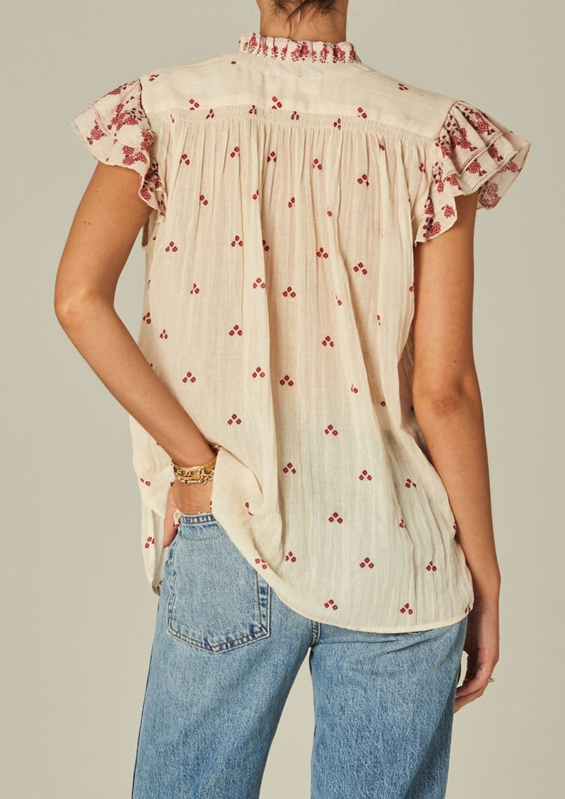 Mia Frill Short Sleeve Top - Ecru/Red