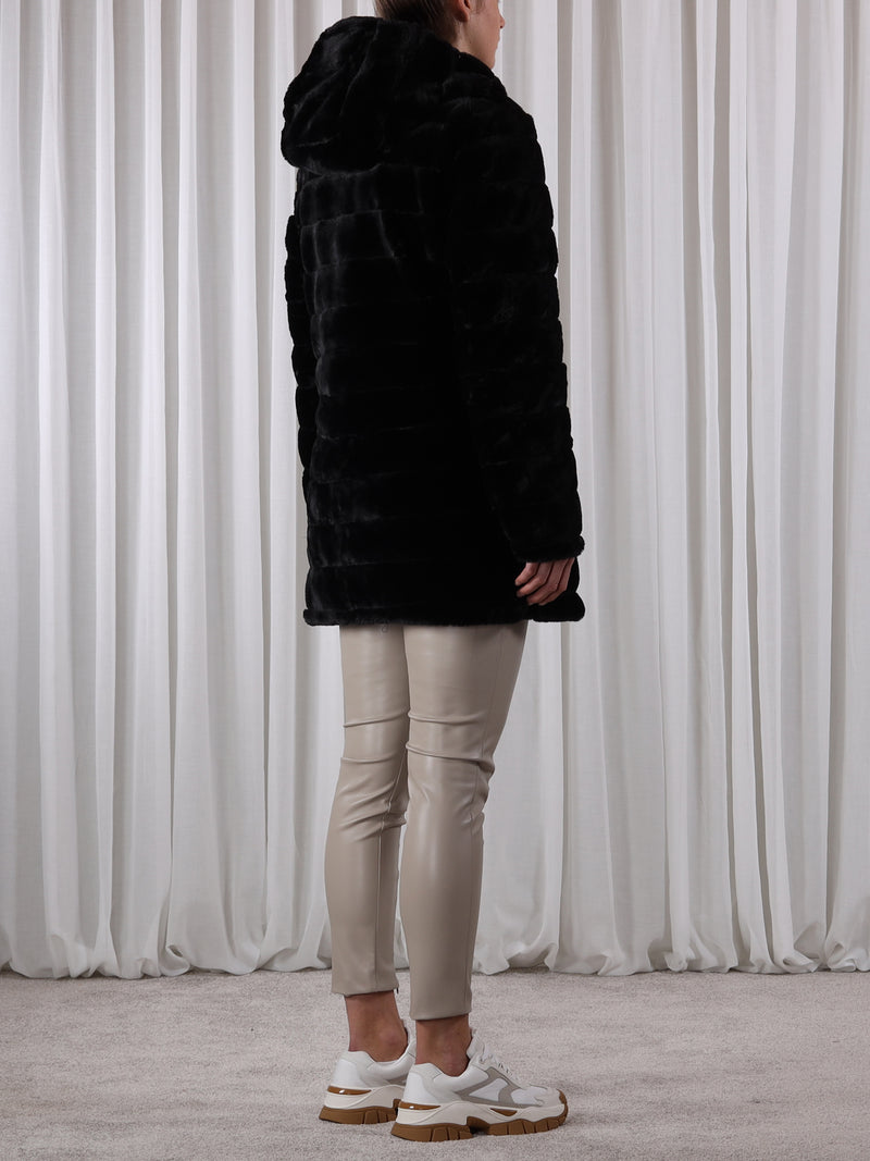 Rino and Pelle Arista Reversible Faux Fur Coat - Black