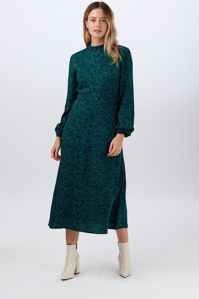 Sugarhill Judith Green Pattern Midi Dress