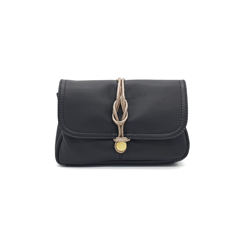 Nooki Delfine Fold Over Leather Bag - Black