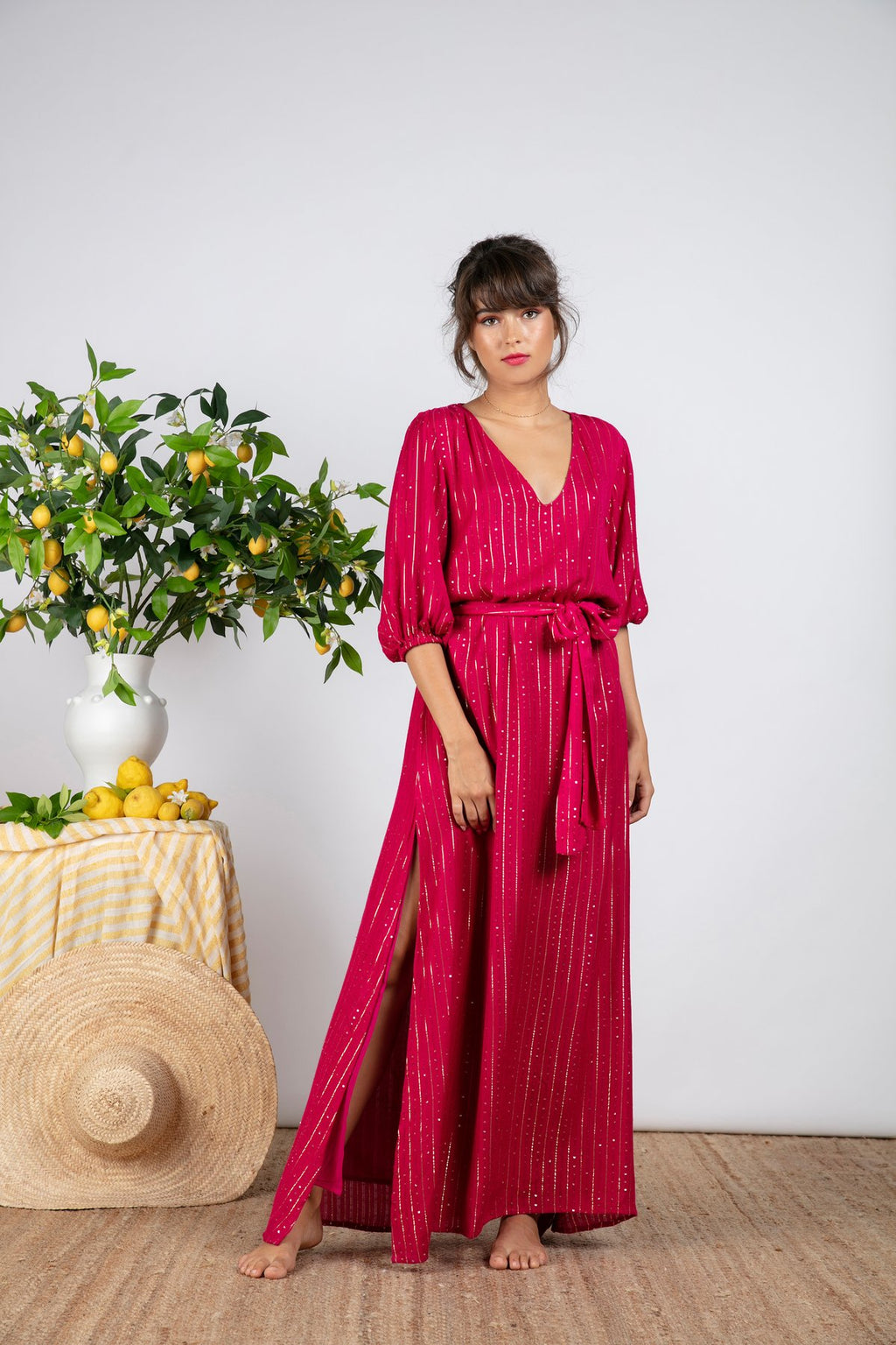Sundress Halo Roma Fuchsia Maxi Dress