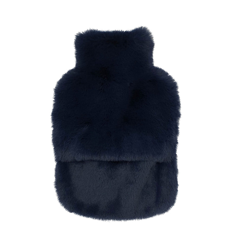 Nooki Faux Fur Hot Water Bottle - Navy
