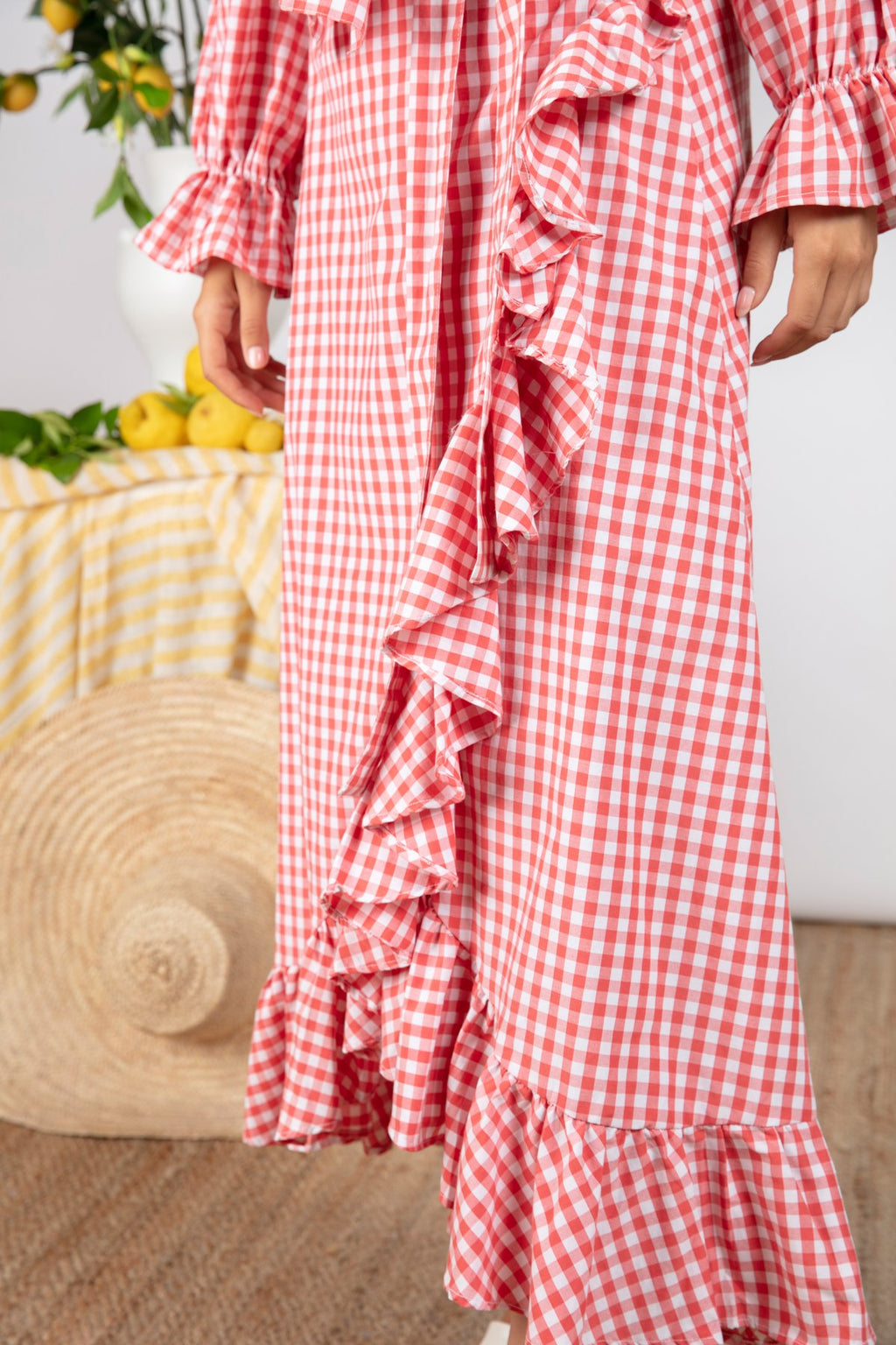 Sundress Ines Gingham Coral Skirt