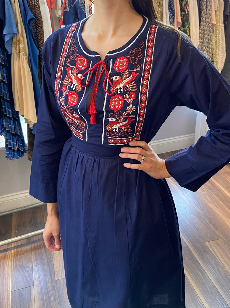 Dream Embroidered Midi Dress - Navy