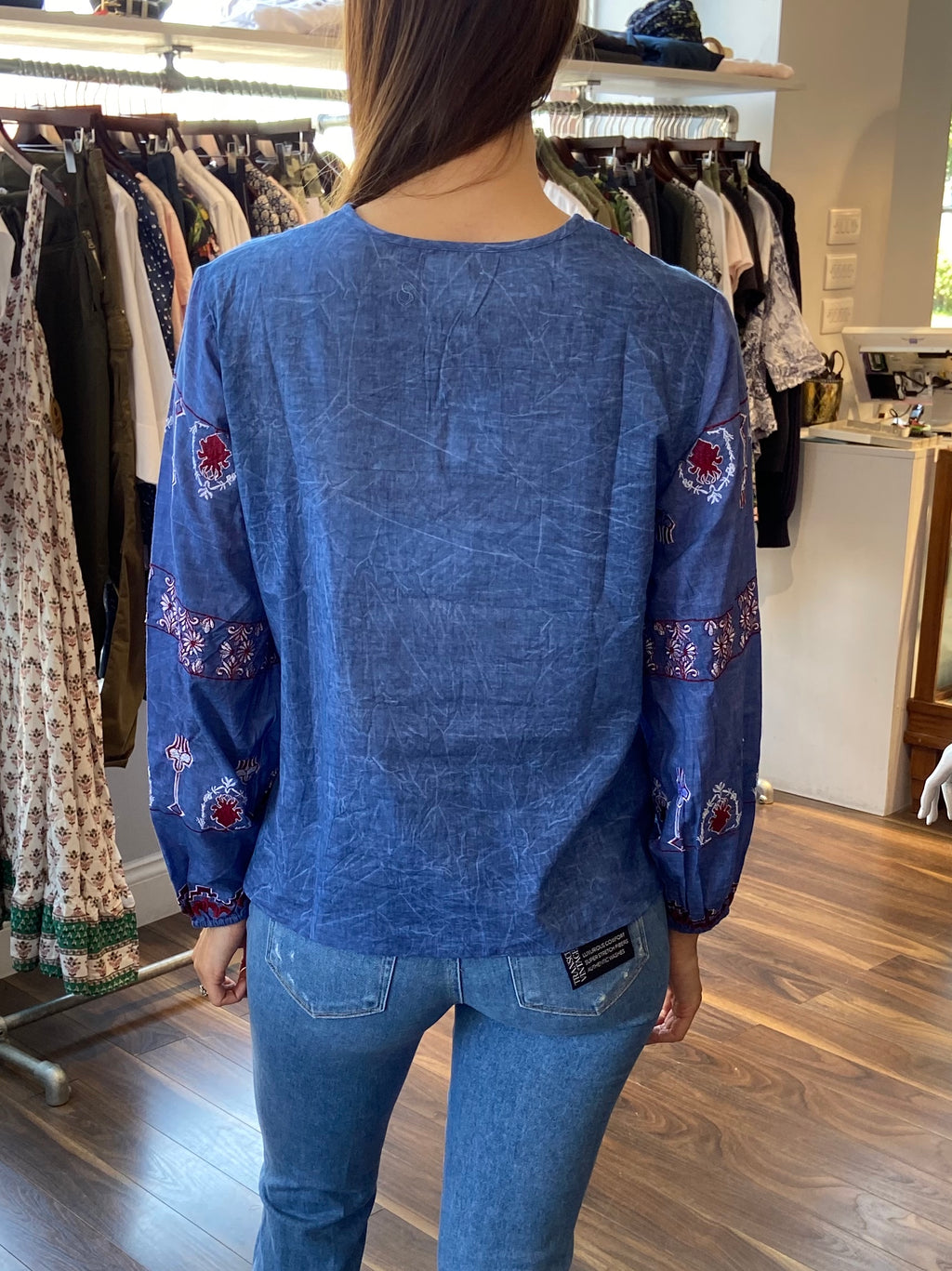Dream Blue Embroidered Puff Sleeve - Blue
