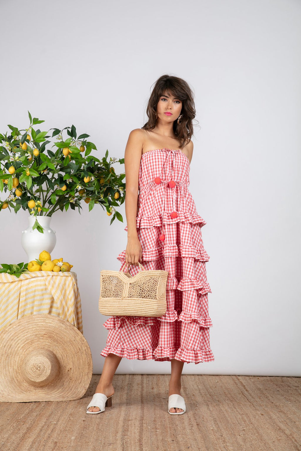Sundress Jasmin Gingham Coral Dress