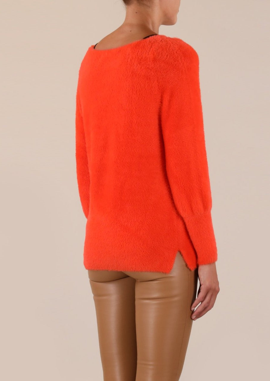 Rino & Pelle Maddie Knitted V-Neck Sweater - Flame