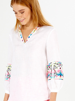 Vilagallo White Linen Embroidered Blouse