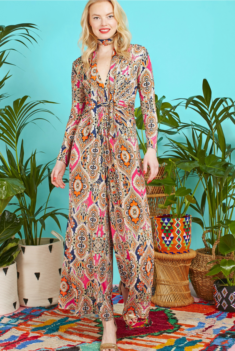 Onjenu Leia Jumpsuit Rhea Print Orange