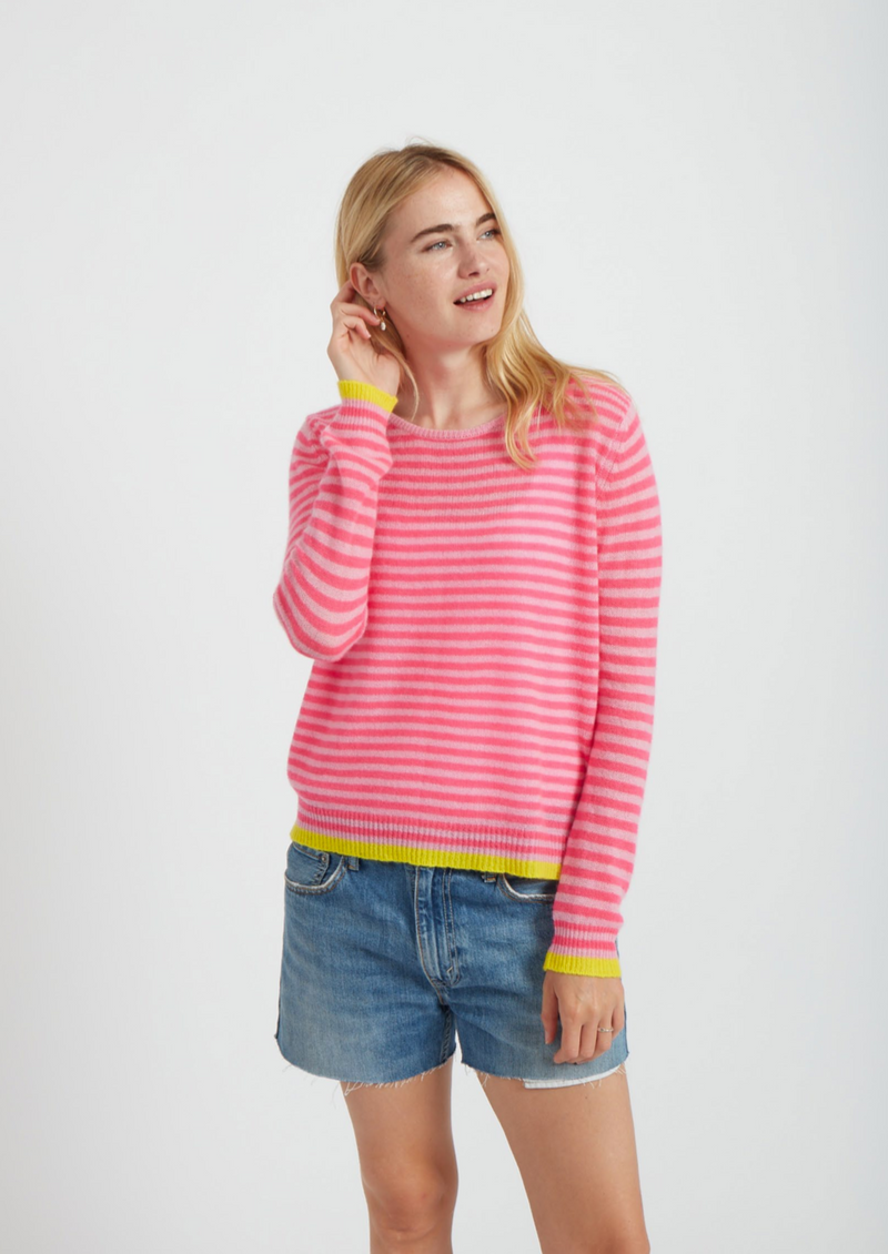 Jumper 1234 Stripe Crew Neck Cashmere Jumper - Pink