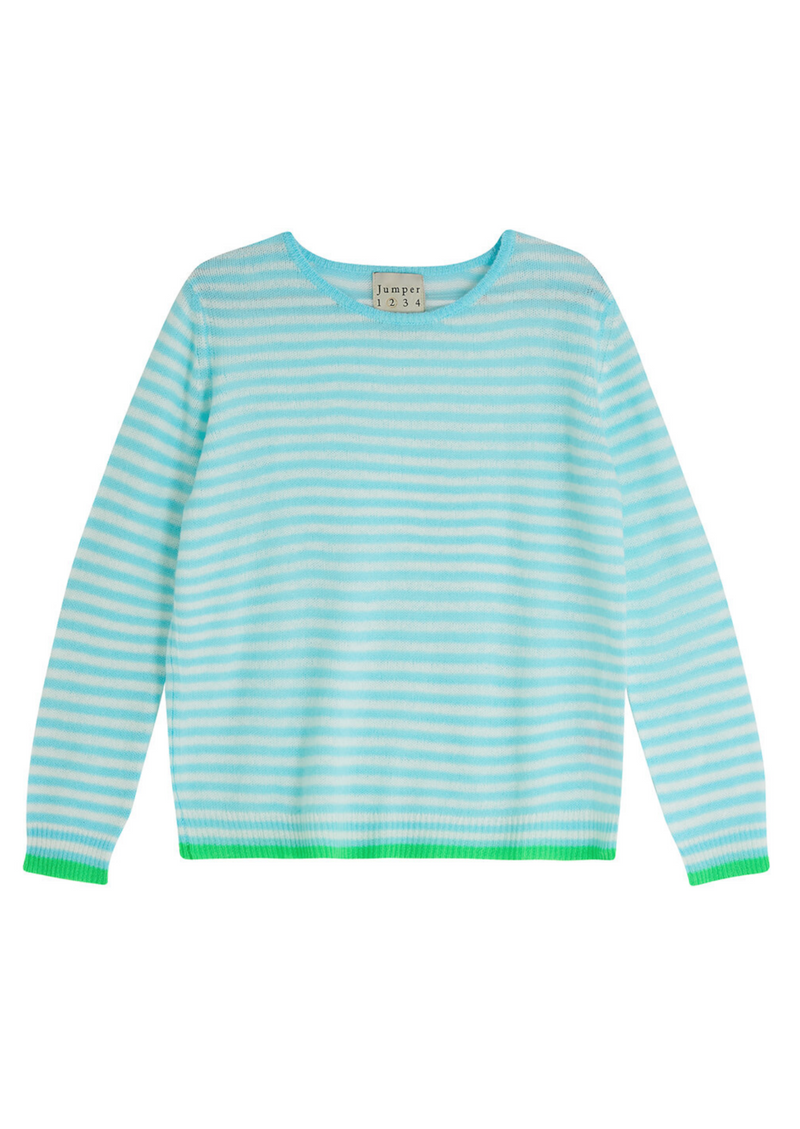 Jumper 1234 Stripe Crew Neck Cashmere Jumper - Blue