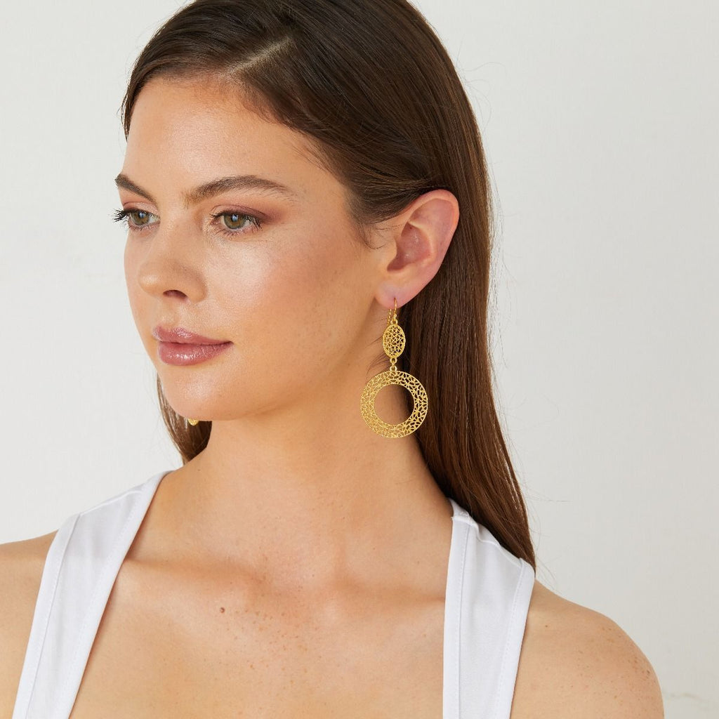 Ashiana Lace Cutwork Statement Earrings Gold