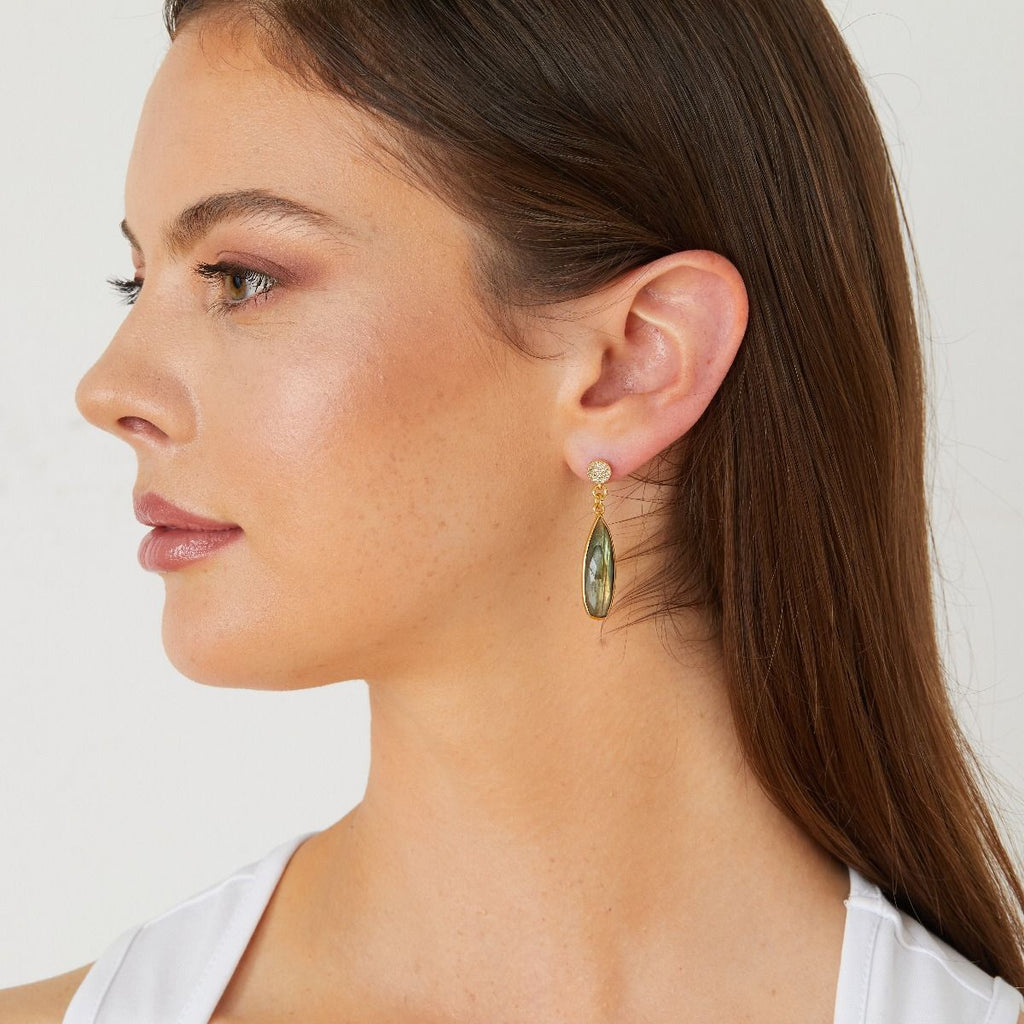 Ashiana Long Gemstone Drop Earrings