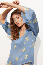 Part Two Cilia Gold Embroidered Blouse - Blue