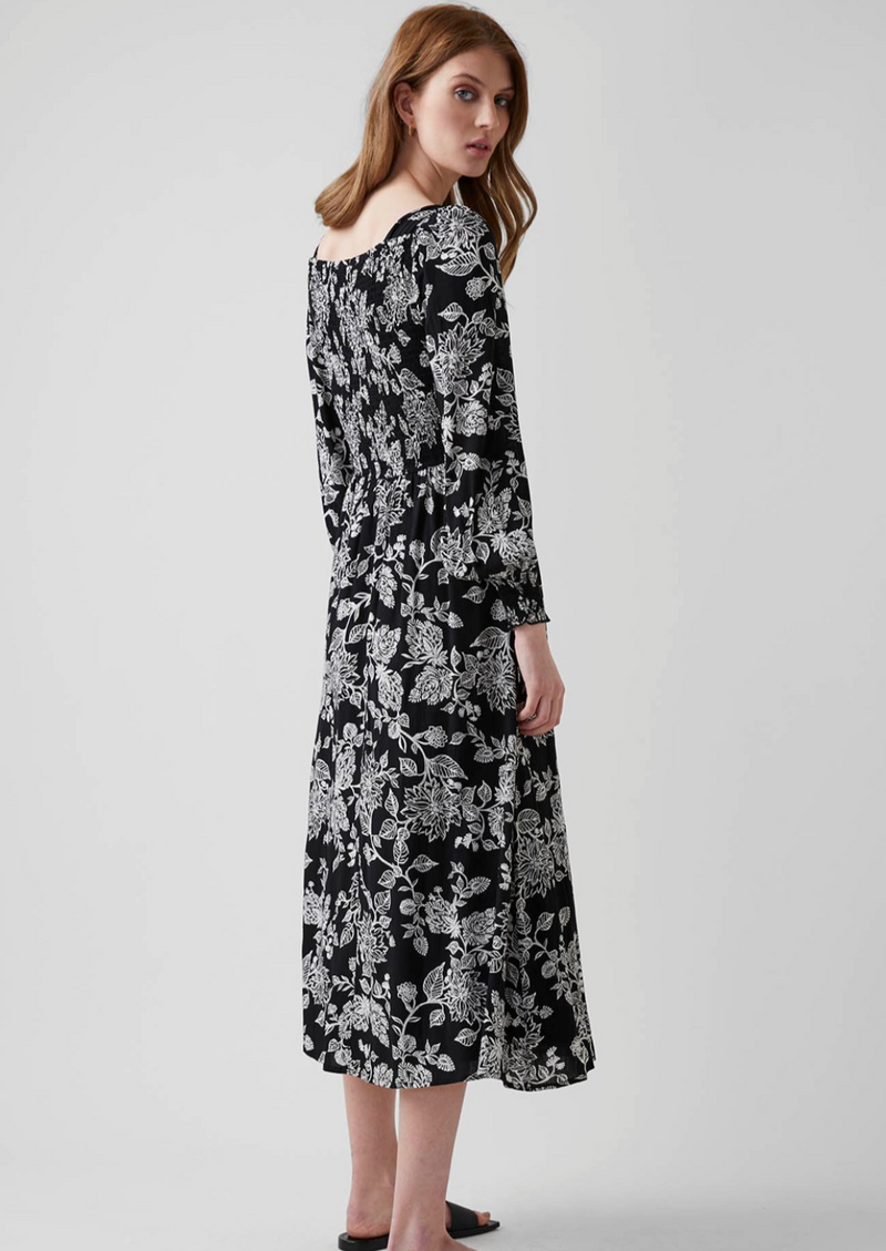Great Plains Bali Bloom Square Neck Dress - Black