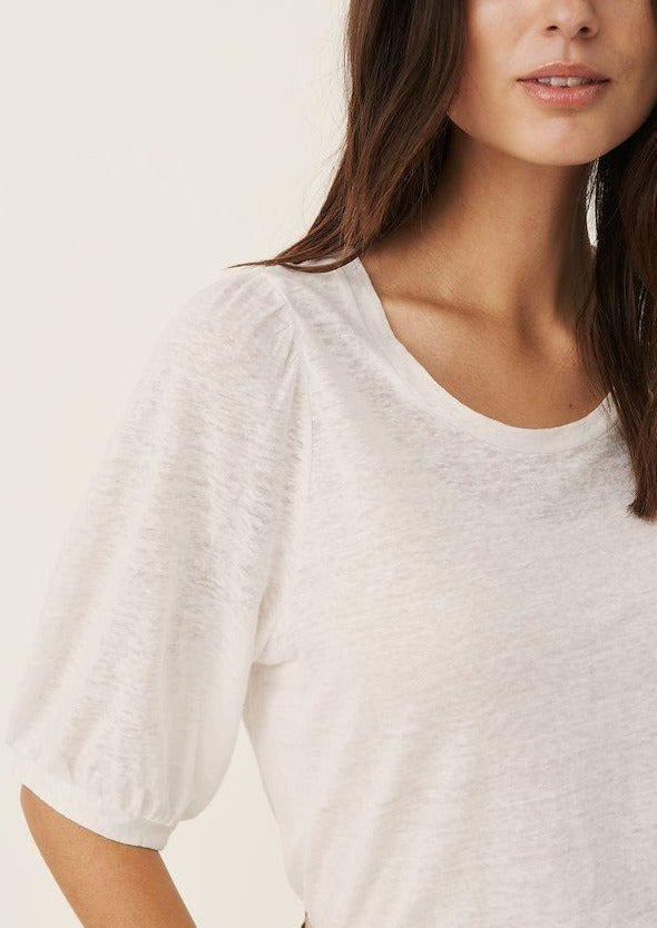 Part Two Evin White Linen T-Shirt