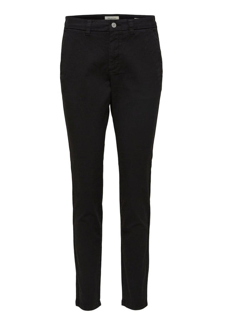 Selected Femme Tapered Stretchy Chinos - Black