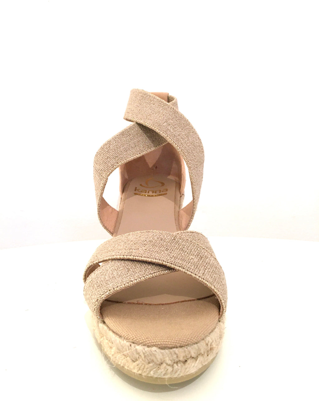 Kanna Elastic Lurex Cross Over Wedges - Beige