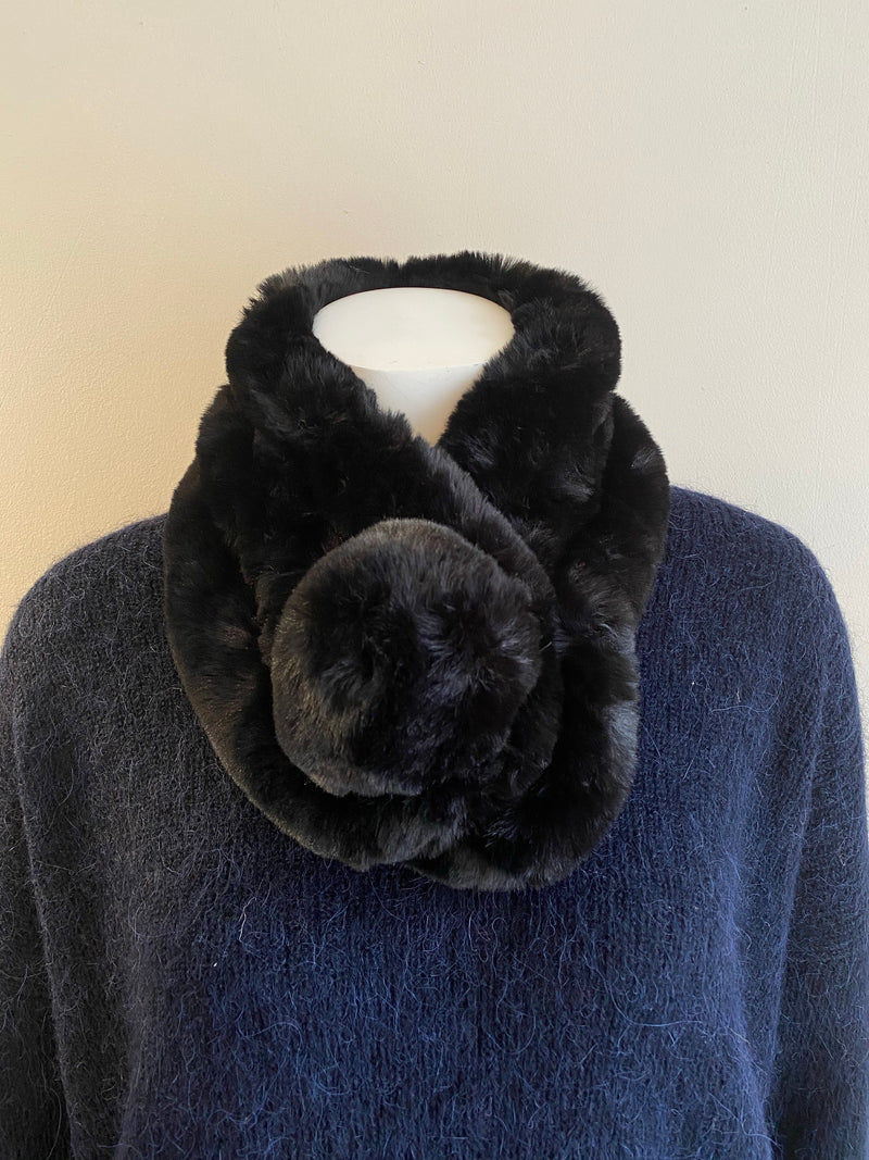 Libby Loves Eva Pom Pom Scarf - Black