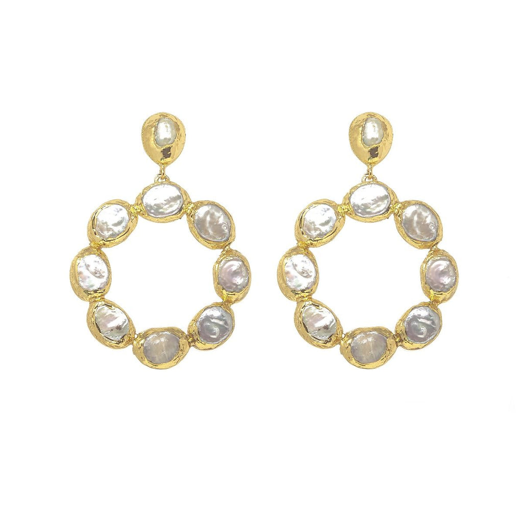 Ashiana Wanda Hoop Pearl Earrings