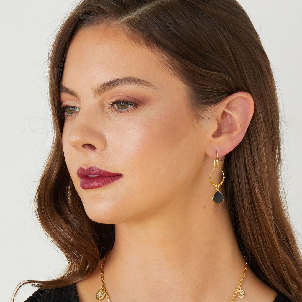 Ashiana Gold Beaded Hoop Earrings Black Onyx
