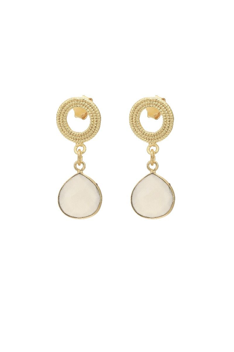 Ashiana London Earrings in White Chalcedony