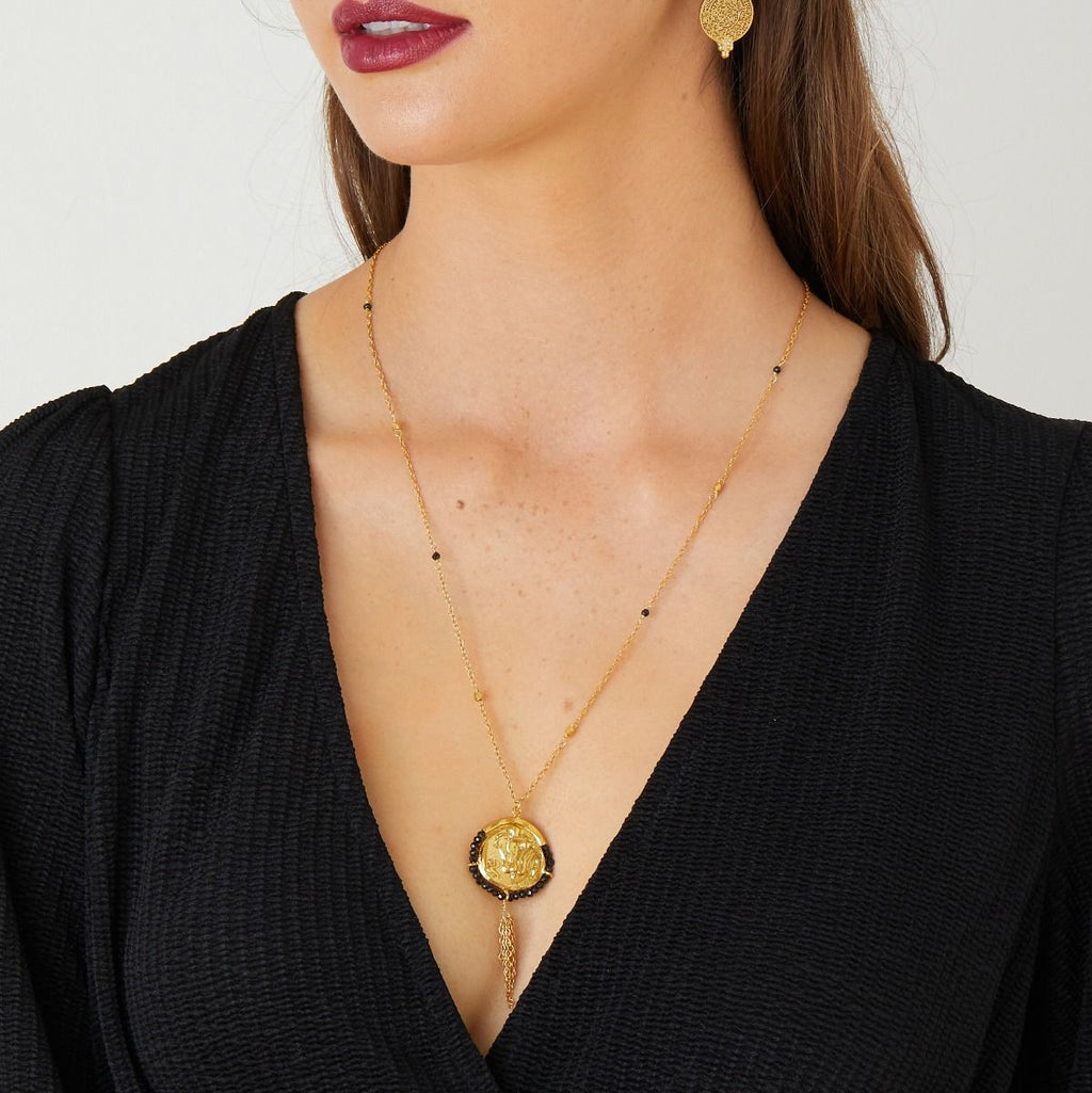 Ashiana Lily Tassel Necklace Black Onyx