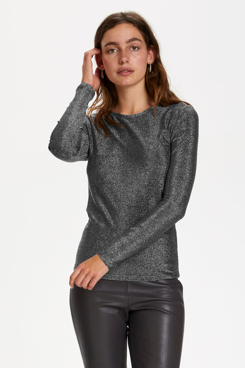 Soaked In Luxury Skylara Glitter Tee - Silver