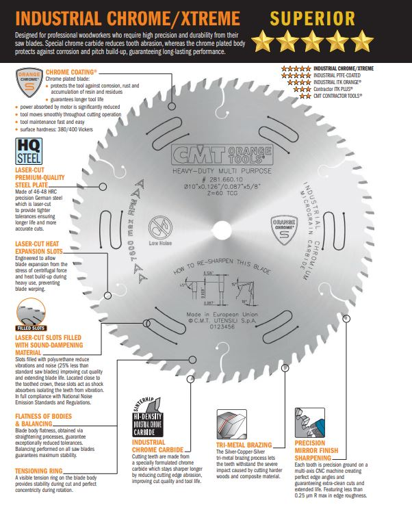 Features of CMT Chrome/Xtreme Saw Blade