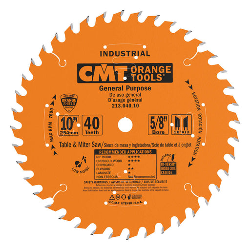 "CMT Orange Industrial PTFE Coated 10"" General Purpose Thin Kerf Combination Blade, 40 Teeth, Alternate Top Bevel (ATB) Grind, 0.102"" Kerf 214.040.10"
