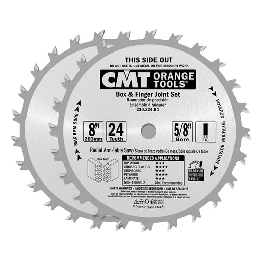 "CMT Orange Chrome Carbide 8"" Box and Finger Joint Set, 24 Teeth, Flat Top Grind, 0.250"" Kerf 230.224.08"