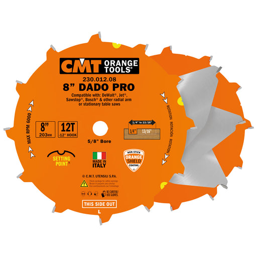"CMT Orange 8"" Precision Dado Blade Set, 12 teeth, FTG+ATB grind 0.125"" Kerf 230.012.08"