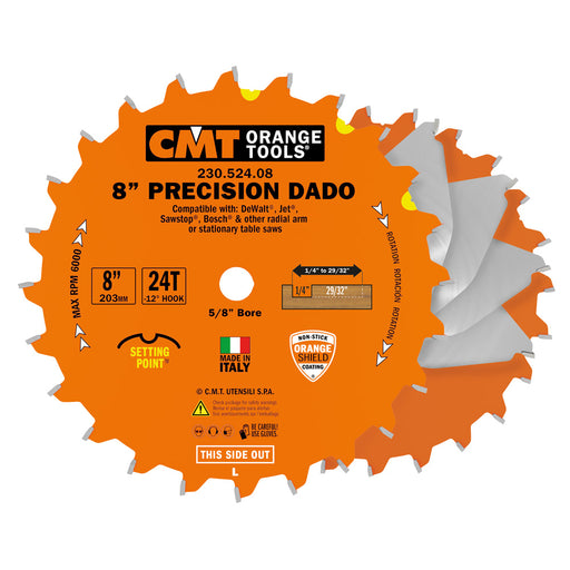 "CMT Orange 8"" Precision Dado Blade Set, 24 teeth, FTG + ATB grind 230.524.08"
