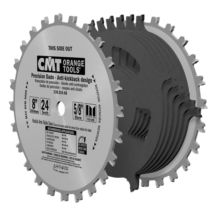 "CMT Orange 6"" Precision Dado Blade Set, 20 teeth, FTG + ATB grind, 0.125"" kerf 230.520.06"