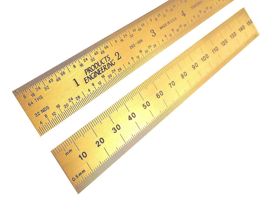 "PEC Tools 6"" (150mm) English/Metric Titanium Nitride (TiN) Ruler"